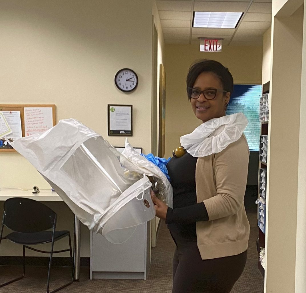 On of our Hospice Heroes, Hospice of the Chesaepeake Clinical Director Allyson, prepares to deliver personal protective equipment to a vendor.