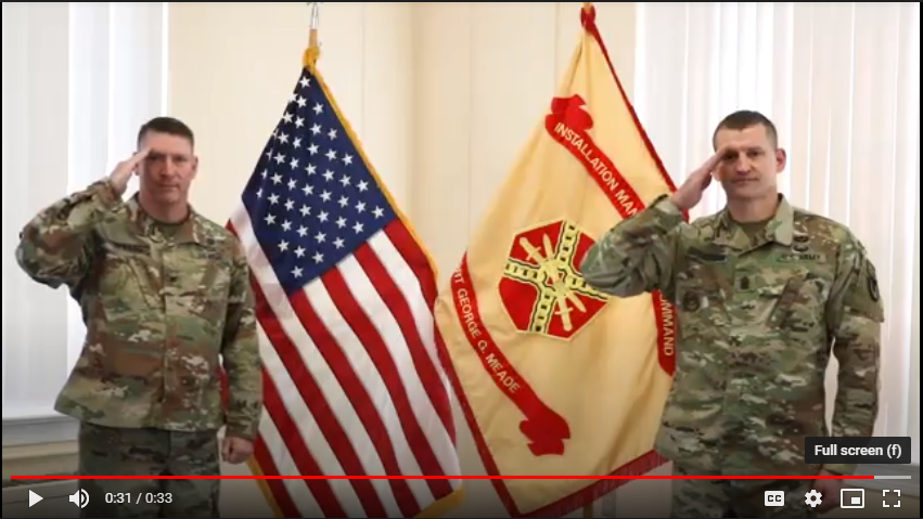 Fort George G. Meade's Col. Erich C. Spragg and Command Sergeant Major Michael E. Behnkendorf offer a video Honor Salute to present to Hospice of the Chesapeake veteran patients.