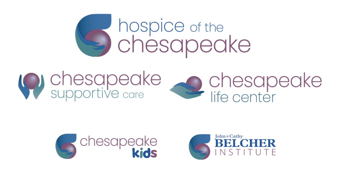 The new 2020 brand logos for Hospice of the Chesapeake, Chesapeake Life Center, Chesapeake Supportive Care, Chesapeake Kids, John and Cathy Belcher Institute