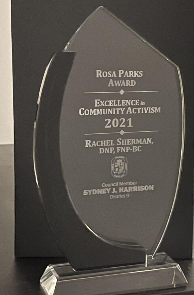 Nurse Practitioner Rachel Sherman's Rosa Parks Award for Community Activism