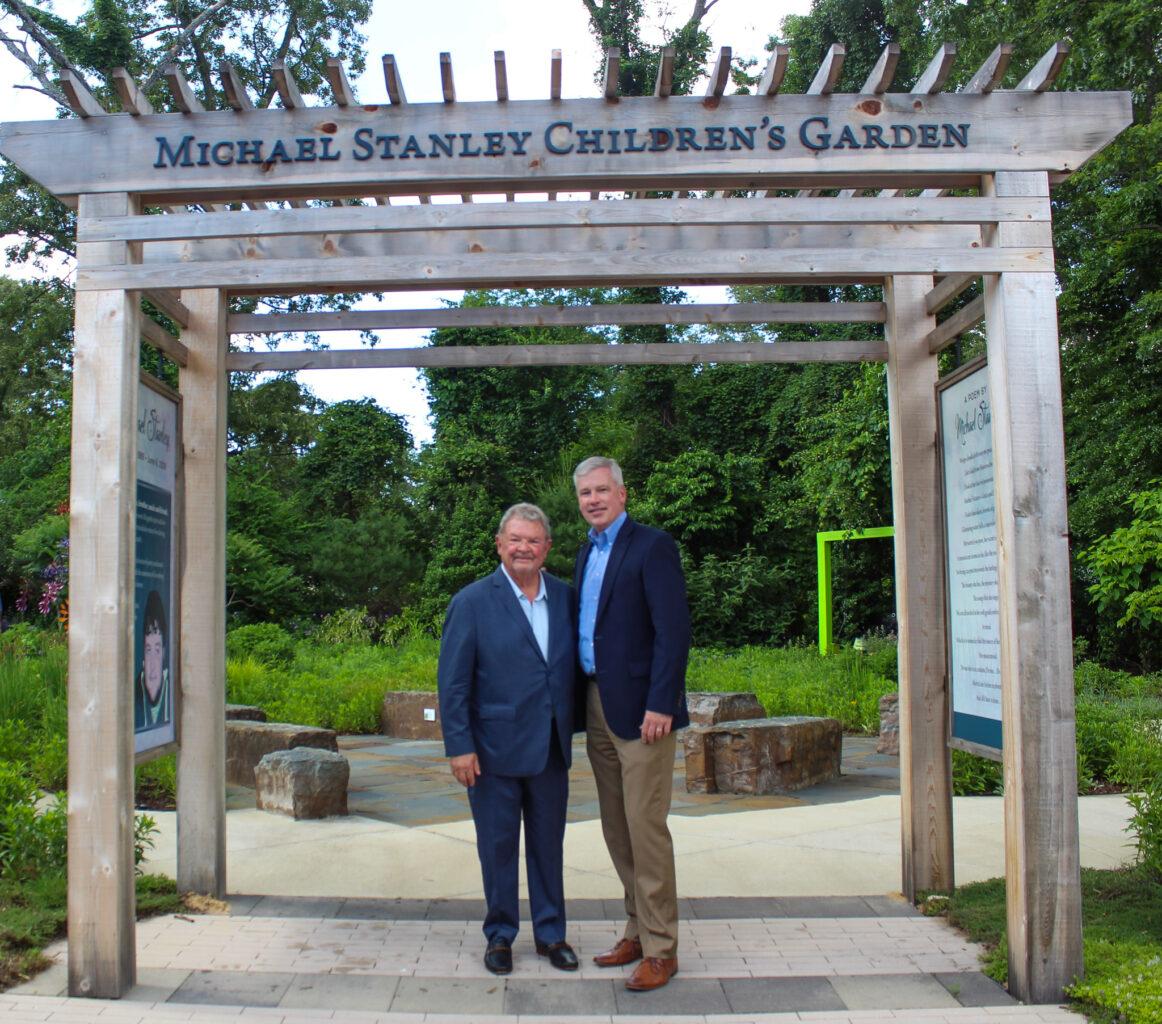 Ken Stanley and Mike Brady in Michael Stanley Children's Garden