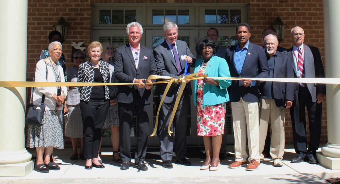 Pictured in the front row from left are Hospice of the Chesapeake board members Joyce Phillip, Tricia Lehmann, Brian Gibbons, President and CEO Mike Brady, Delegate Edith Patterson, Senator Arthur Ellis, board member Jim Humphrey and University of Maryland Charles Regional Medical Center President and CEO Noel Cervino at the Hospice of Charles County Ribbon Cutting on June 23, 2021.