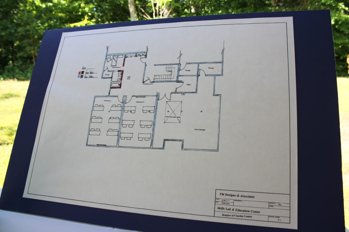 The floor plan for renovations to the lower level of the Hospice of Charles County center in Waldorf were on display at the ribbon cutting event held June 23, 2021.