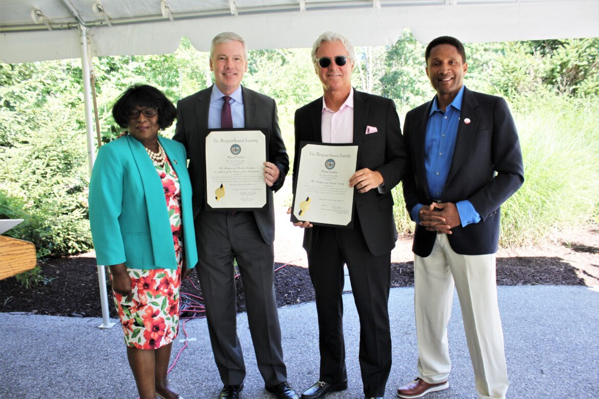 Pictured from left are Hospice of the Chesapeake board member Delegate Edith Patterson, Hospice of the Chesapeake President and CEO Mike Brady, Board Chairman Brian Gibbons and Senator Arthur Ellis at the Hospice of Charles County Ribbon Cutting held June 23, 2021.